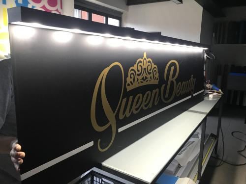 Insegna a pannello con baffo luminoso Queen Beauty 2
